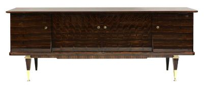 A French lacquered Macassar ebony sideboard,
