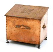 An Arts and Crafts copper log bin,