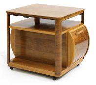 An Art Deco walnut drinks cabinet,