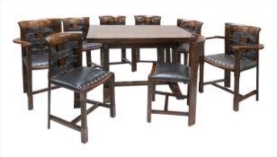 An oak dining suite,