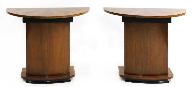 A pair of Art Deco walnut inlaid console tables,