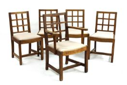 Five oak dining chairs,