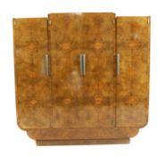 A large Art Deco burr walnut wardrobe,