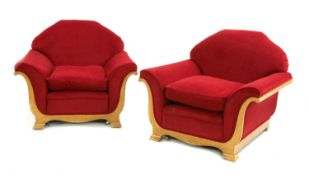 A pair of Art Deco upholstered bird's-eye maple armchairs,