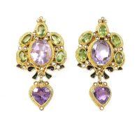 A pair of Italian gilt metal amethyst, peridot, split pearl and enamel earrings, by Percossi Papi,