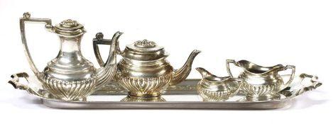 An Elizabeth II silver miniature five piece tea set, by A Marston & Co,