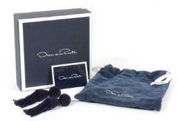 A pair of beaded tassel drop earrings with clip fittings, by Oscar de la Renta,