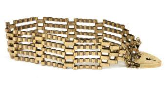 A 9ct gold five row gate bracelet,