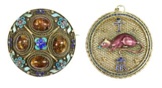 A Chinese silver gilt enamel 'Year of the Rat' zodiac pendant,