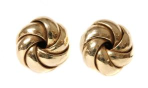 A pair of 9ct gold knot earrings,