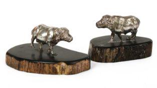 A contemporary silver sculpture of a buffalo, by Patrick Mavros,