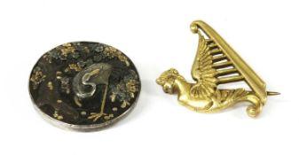 An Irish gold harp brooch,