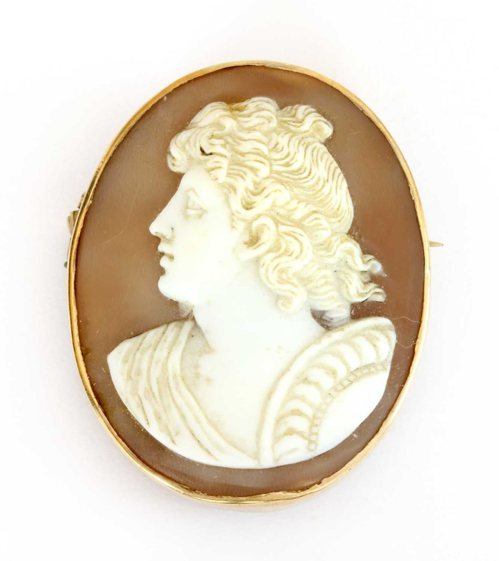 A gold mounted oval shell cameo,