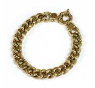 A gold hollow curb bracelet,