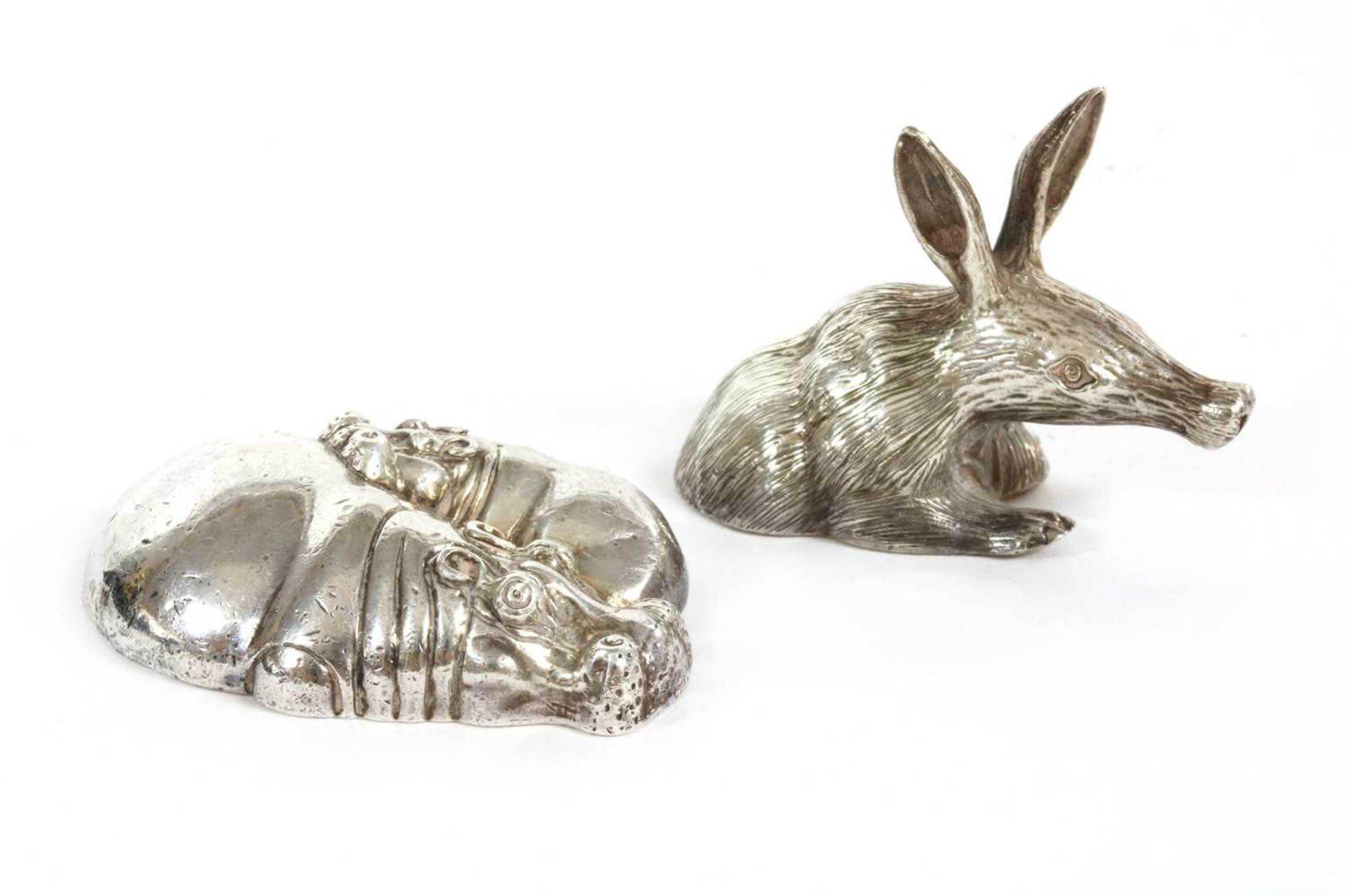 A contemporary sterling silver sculpture of a hippopotamus and calf, by Patrick Mavros,