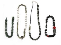 A collection of contemporary silver and costume necklaces,