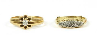 An 18ct gold single stone diamond ring,