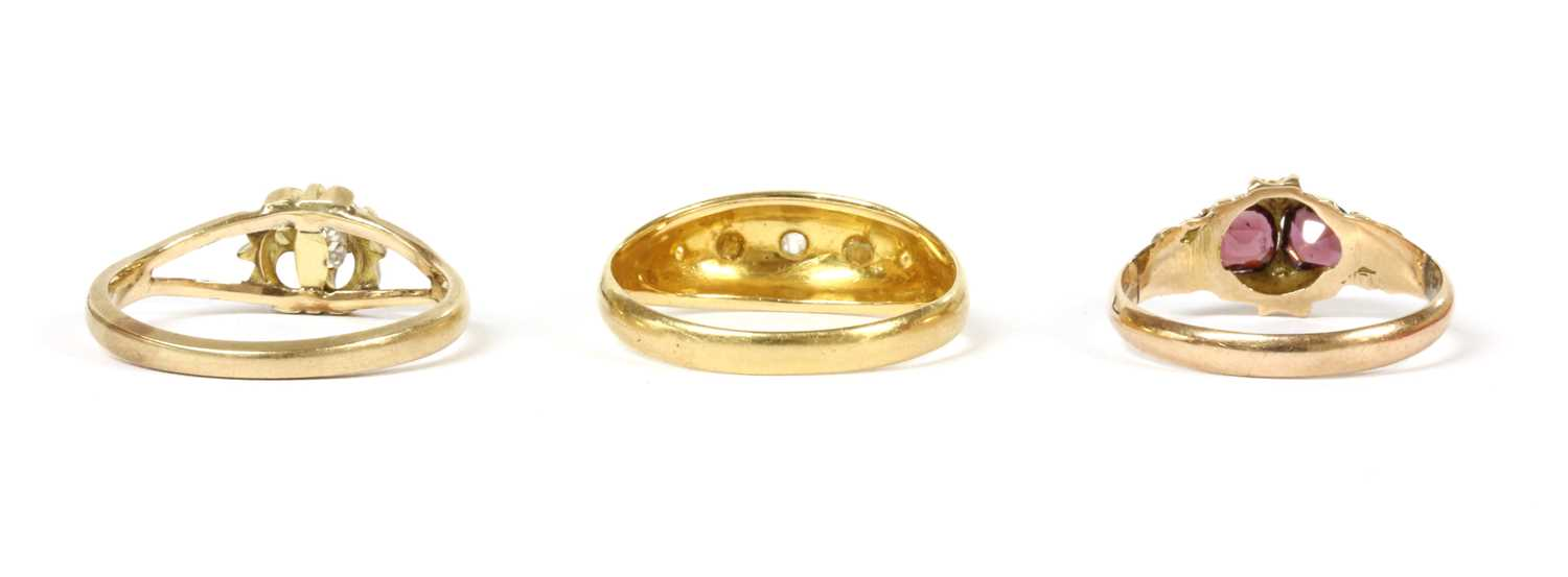 An 18ct gold five stone diamond and split pearl ring, - Image 2 of 2
