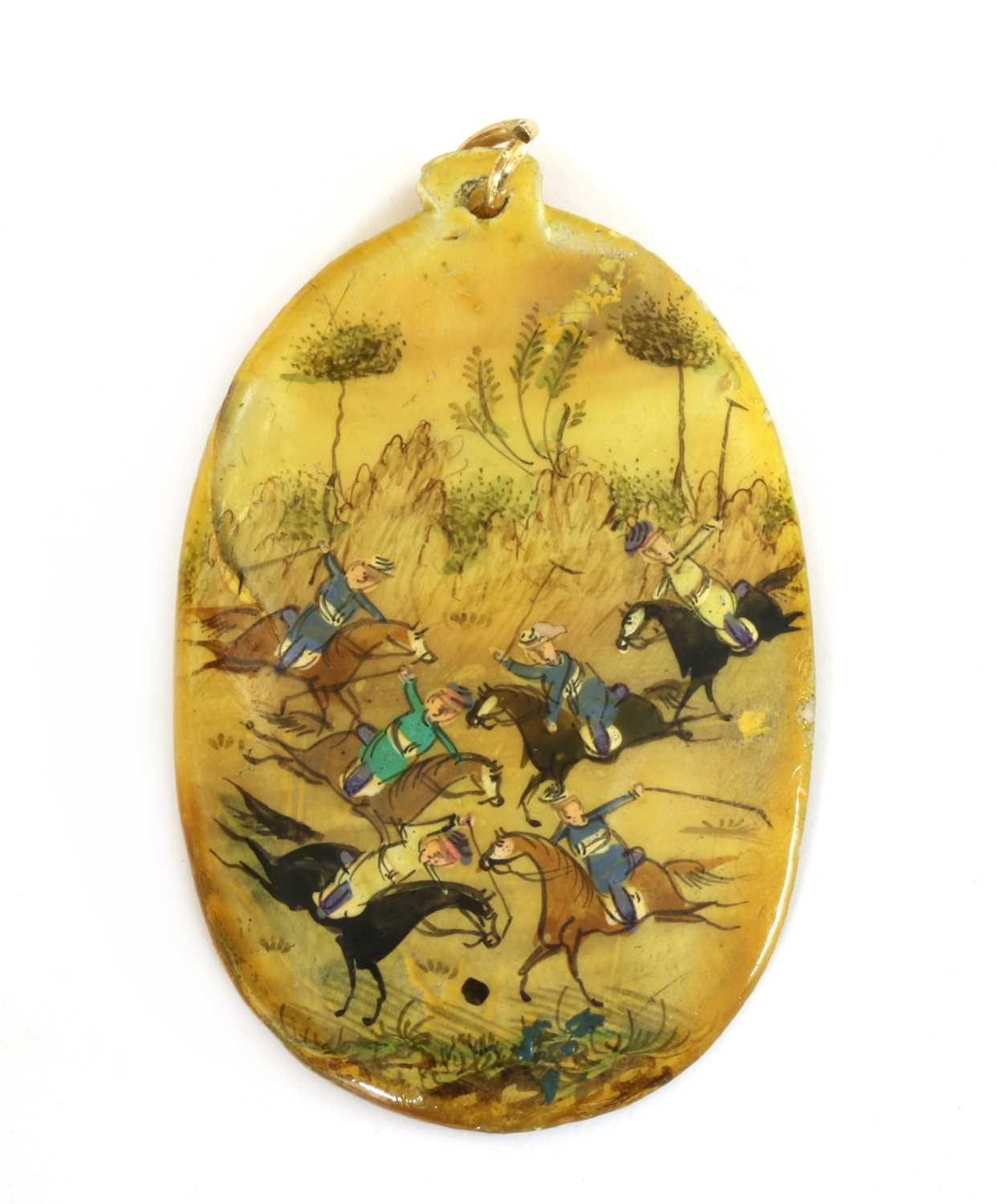 A Persian hand painted miniature pendant,