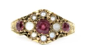 A Victorian 15ct gold garnet and split pearl cluster ring,