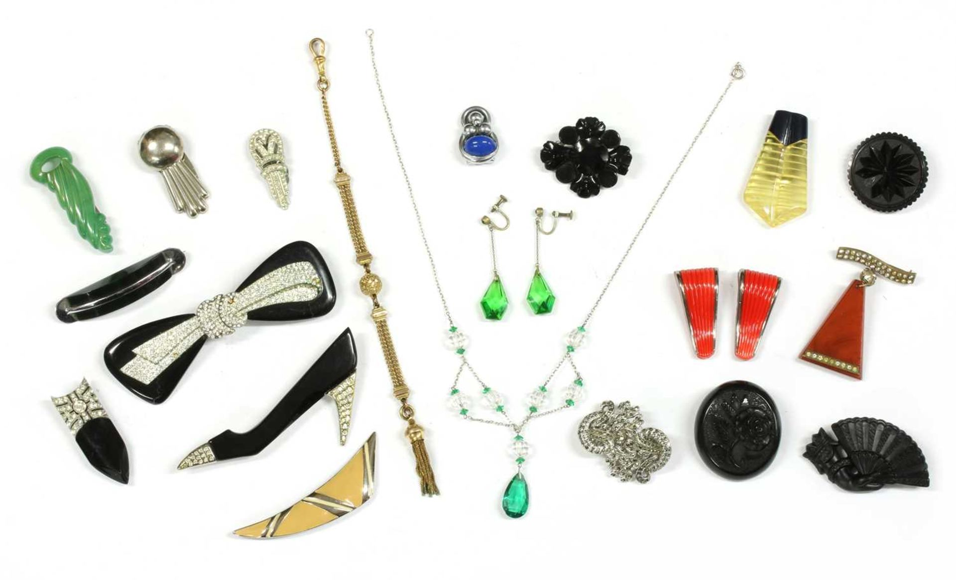 A collection of Art Deco and later costume jewellery,