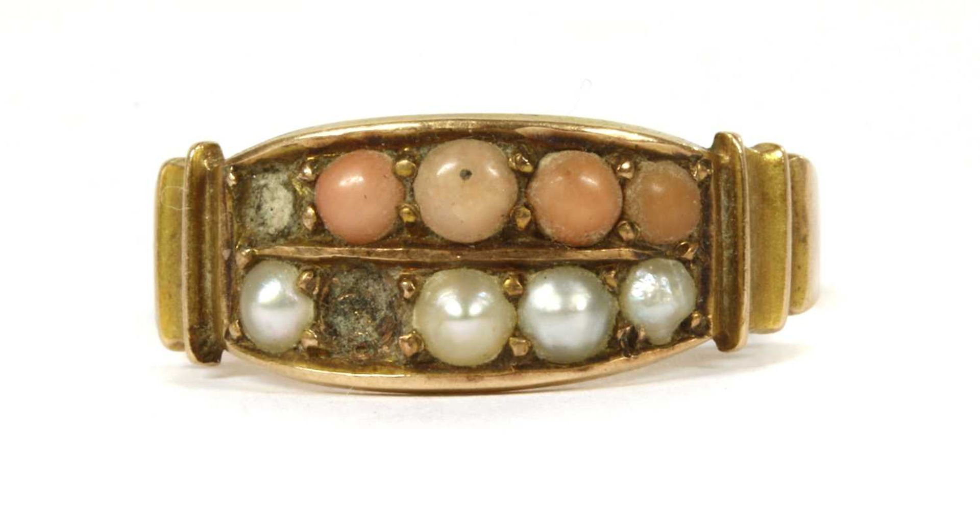 A Victorian 15ct gold coral and split pearl ring,