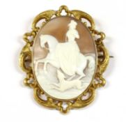 A rolled gold shell cameo brooch,
