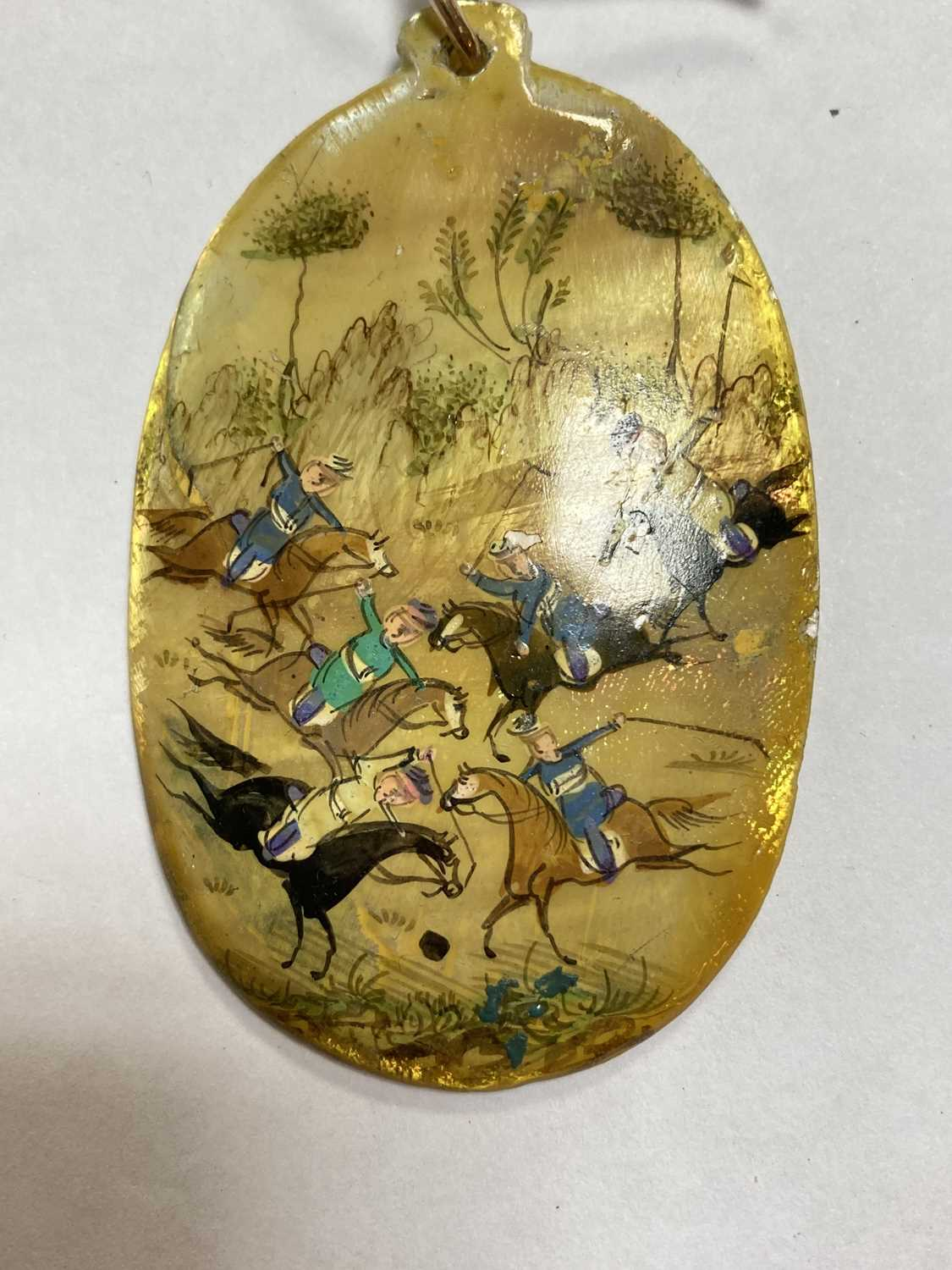 A Persian hand painted miniature pendant, - Image 3 of 8