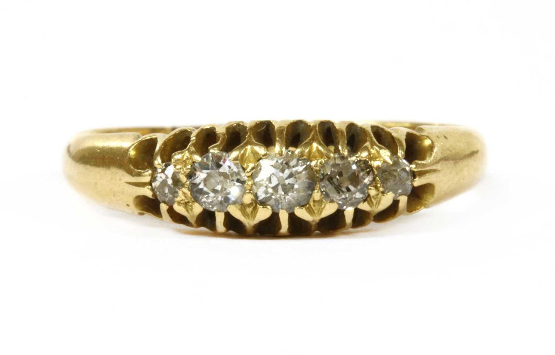 An 18ct gold five stone diamond ring,