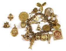 A 9ct gold charm bracelet,