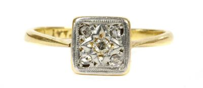 A gold diamond cluster ring,