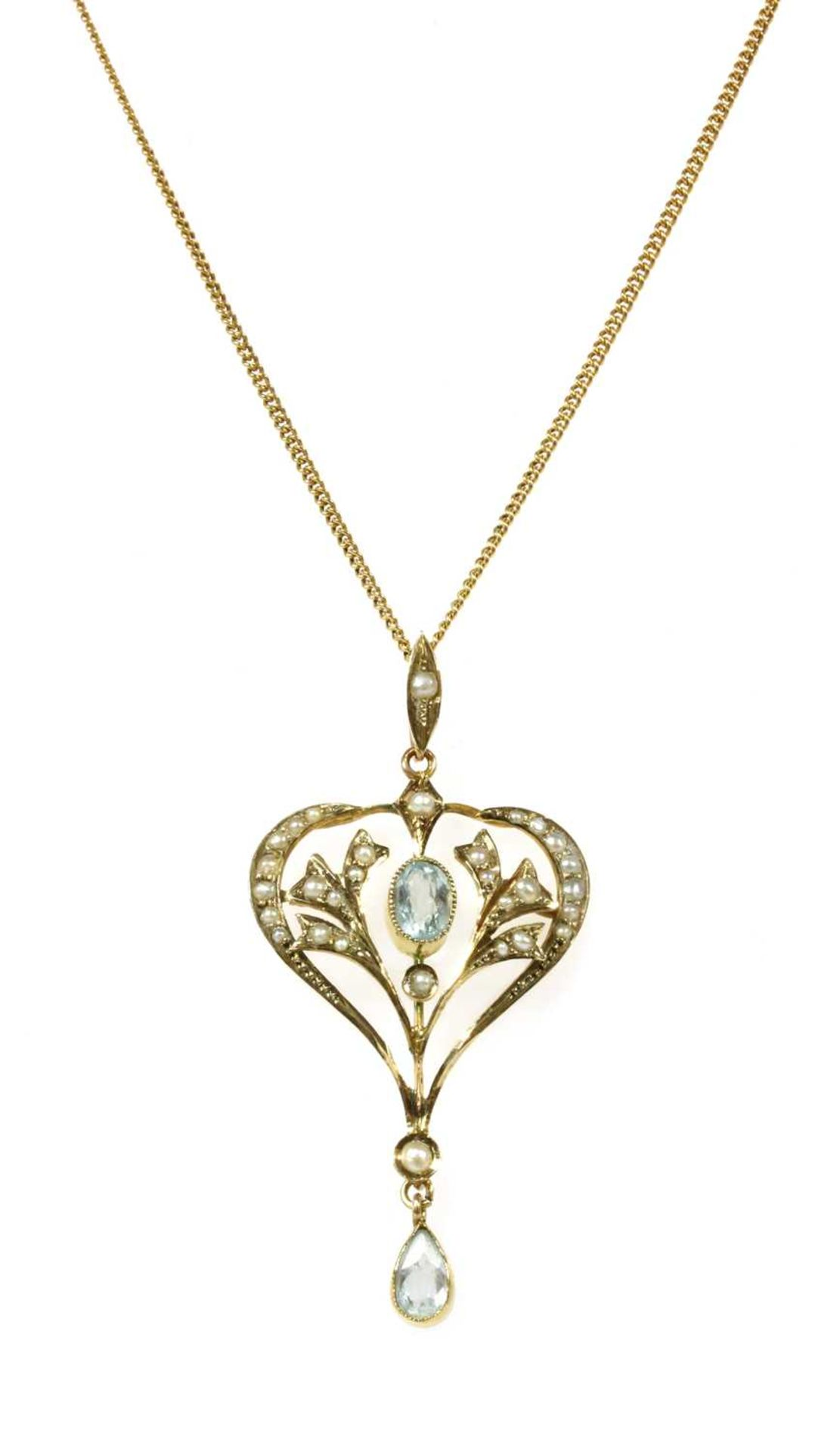 An Edwardian gold aquamarine and split pearl pendant,