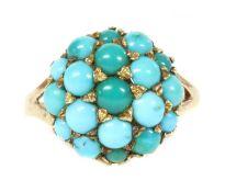A 9ct gold turquoise bombé cluster,