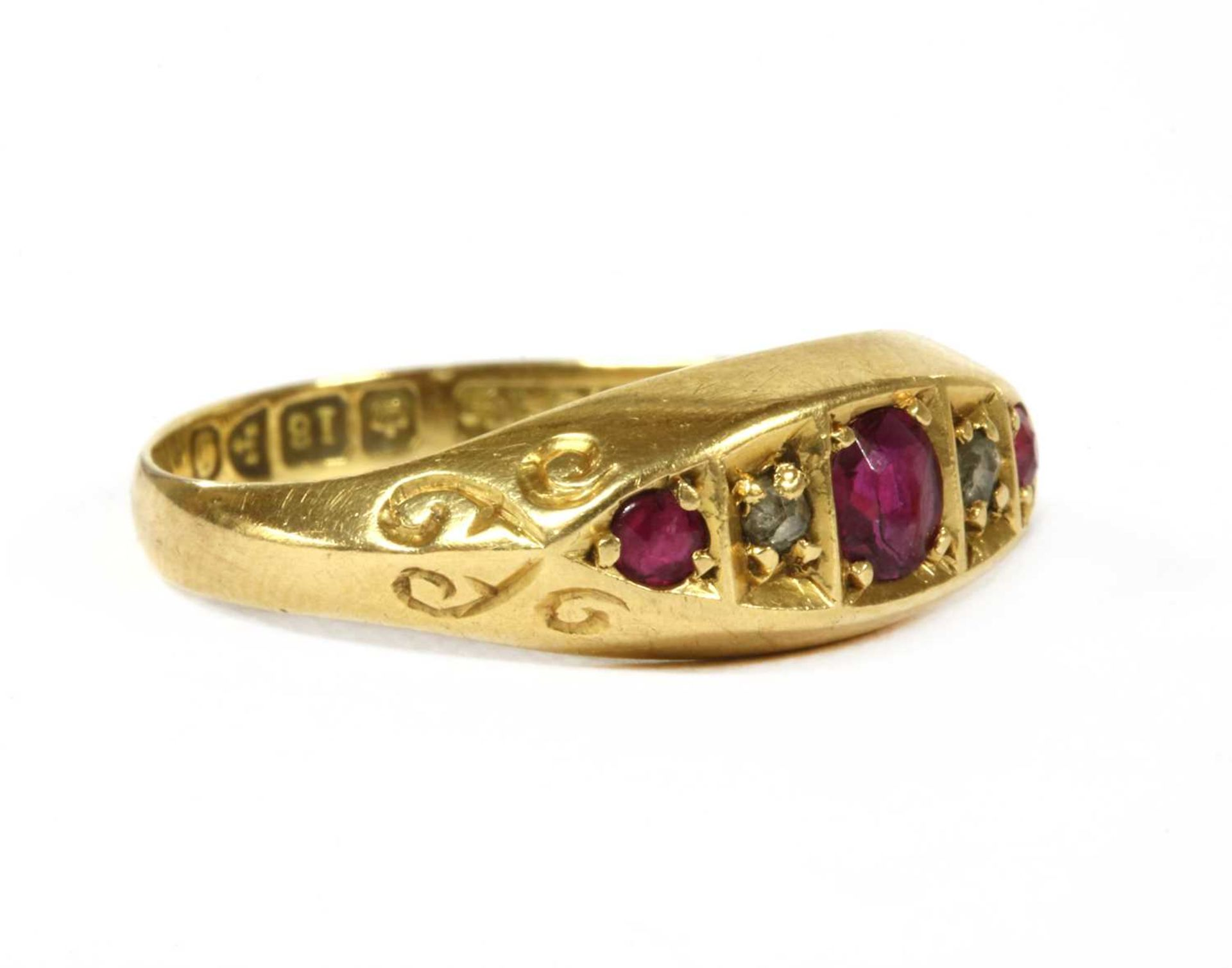 An 18ct gold five stone ruby and diamond ring, - Bild 2 aus 3
