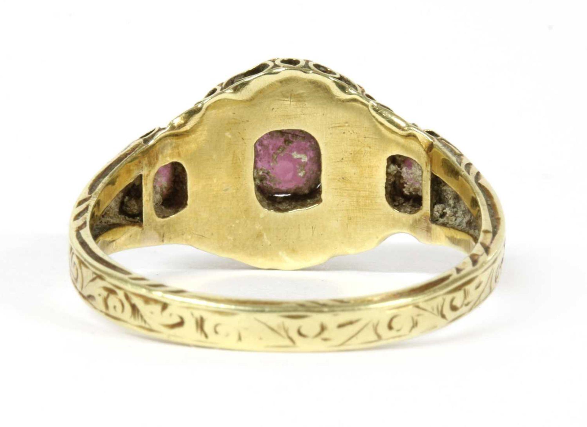 A Victorian 15ct gold garnet and split pearl cluster ring, - Bild 2 aus 3