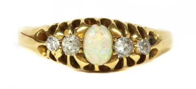 An 18ct gold five stone opal and diamond ring,