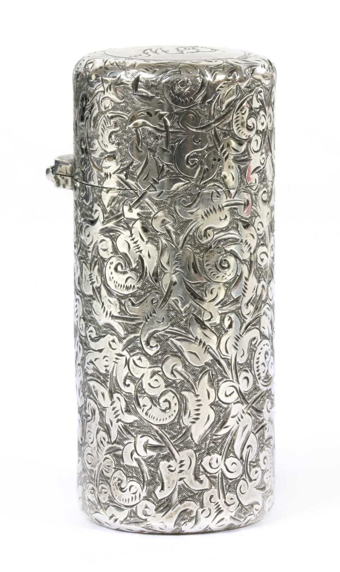 A Victorian sterling silver cylindrical scent bottle, by Sampson Morden & Co,