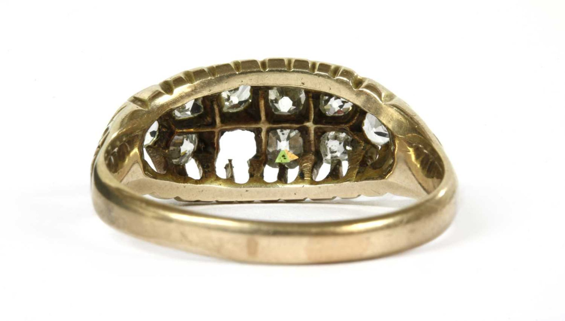 A gold boat shaped diamond ring, - Bild 3 aus 3