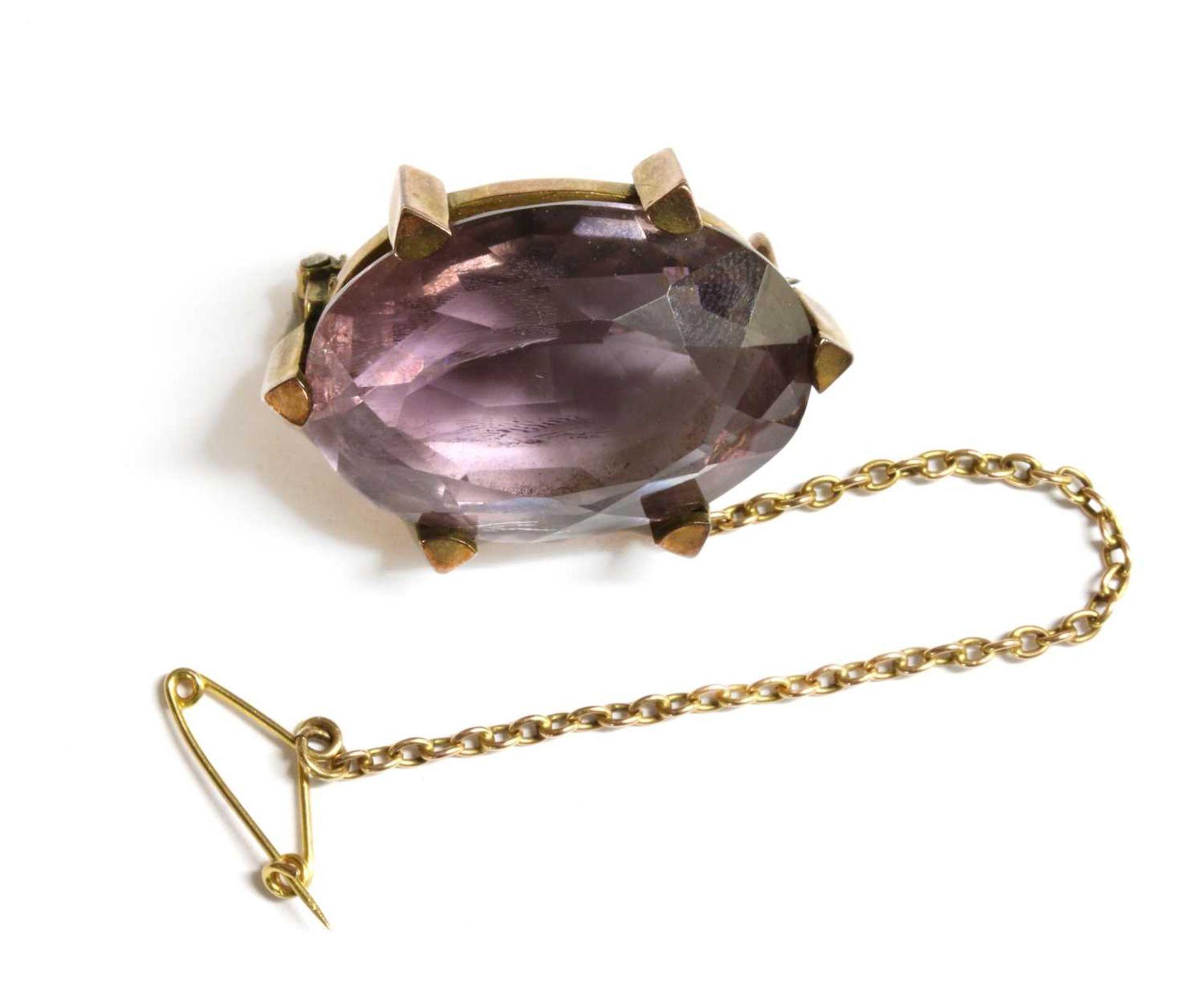 A Victorian gold amethyst brooch,