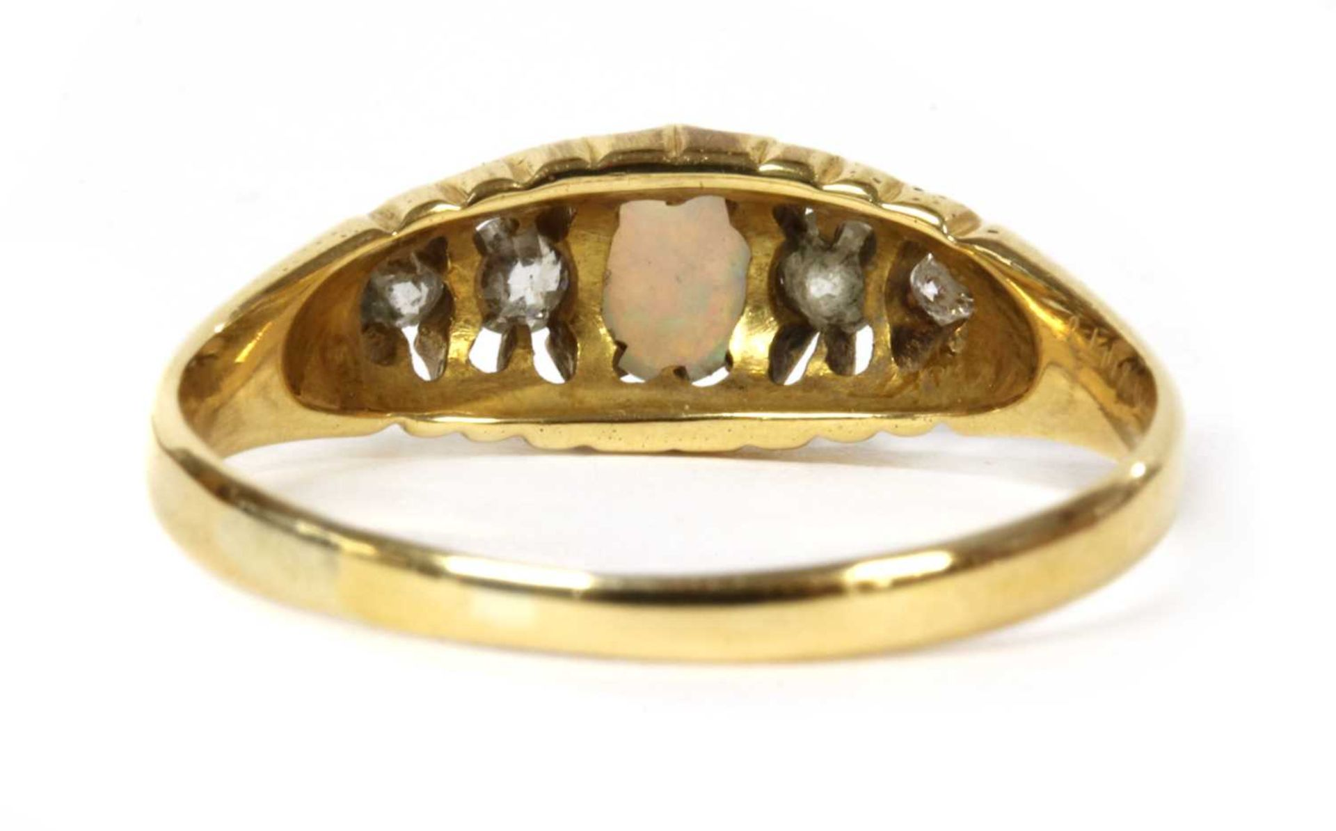 An 18ct gold five stone opal and diamond ring, - Bild 3 aus 3