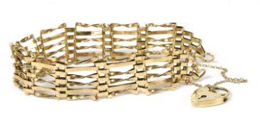 A 9ct gold six row gate bracelet,