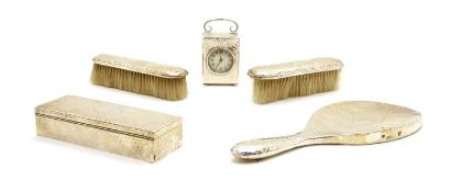 A hammered silver dressing table set,