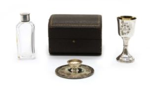A cased Victorian silver communion set,