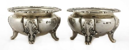 A pair of Edward VII silver open salts of heavy gauge
