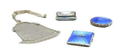 Three items of Guilloch enamel and silver and silver bag