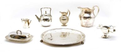 A collection of silver plated tea and table wares,