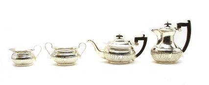 A silver four piece tea and coffee set,