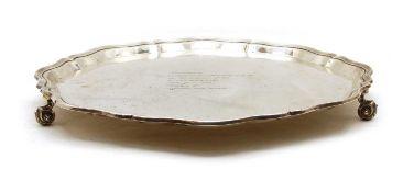 A large silver salver,
