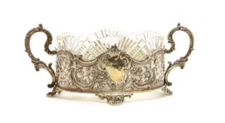 A Continental white metal oval two handled dish