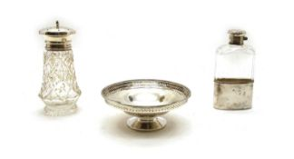 A silver mounted hip flask,
